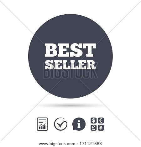 Best seller sign icon. Best seller award symbol. Report document, information and check tick icons. Currency exchange. Vector