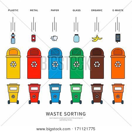 Thin line flat design of the bins for different sort of garbage. Plastic bins for metal, paper, plastic, glass, organic isolated on white