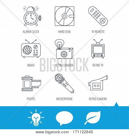 Microphone, video camera and photo icons. Alarm clock, retro radio and TV remote linear signs. Light bulb, speech bubble and leaf web icons. Vector
