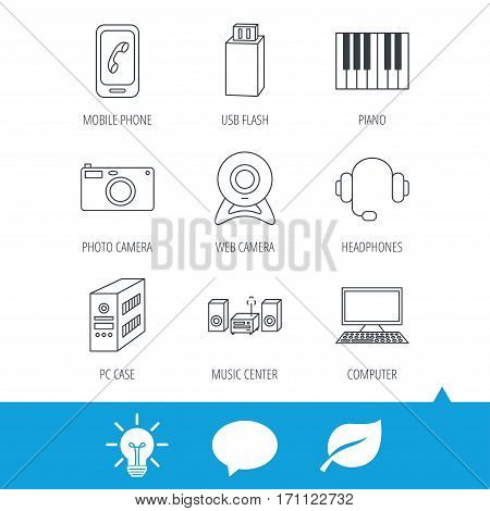 Photo camera, headphones and Usb flash icons. PC case, computer with monitor and web camera linear signs. Piano icons. Light bulb, speech bubble and leaf web icons. Vector