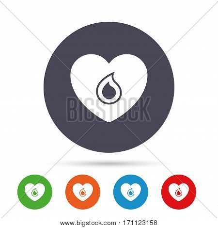 Blood donation sign icon. Medical donation. Heart with blood drop. Round colourful buttons with flat icons. Vector