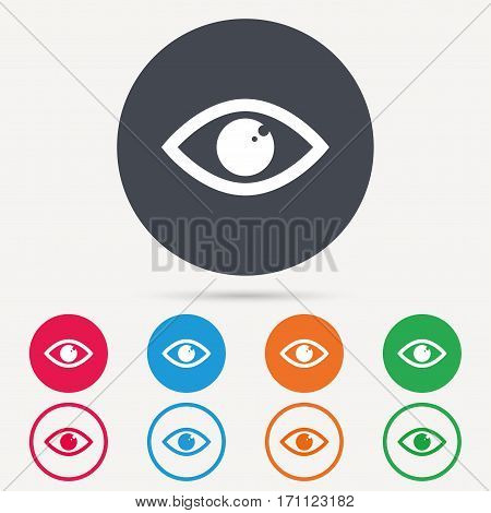 Eye icon. Eyeball vision symbol. Round circle buttons. Colored flat web icons. Vector