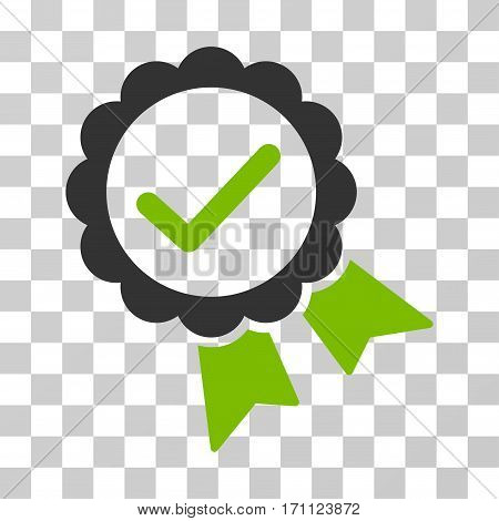 Validity Seal icon. Vector illustration style is flat iconic bicolor symbol eco green and gray colors transparent background. Designed for web and software interfaces.