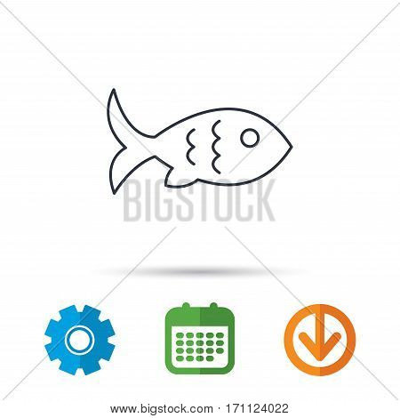 Fish with fin and scales icon. Seafood sign. Vegetarian food symbol. Calendar, cogwheel and download arrow signs. Colored flat web icons. Vector