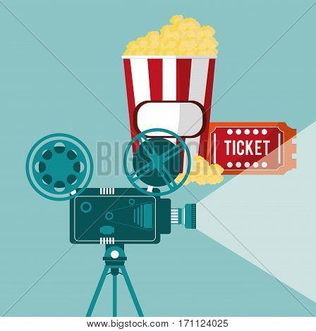 cinema camera film projector ticket and pop corn vector illustration eps 10