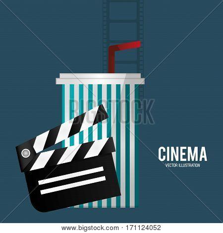 cinema film clapper soda with straw vector illustration eps 10