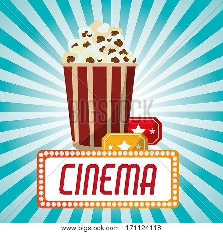cinema pop corn tickets blue stripes background vector illustration eps 10