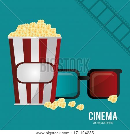 cinema 3d glasses pop corn and filmstrip vector illustration eps 10