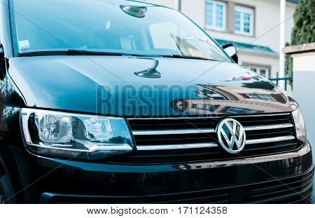 STRASBOURG FRANCE - FEB 12 2017: Volkswagen logotype on the luxury black van front. Volkswagen shortened to VW is a German automaker founded on 4 January 1937 by the German Labour Front and headquartered in Wolfsburg.