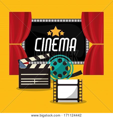 cinema teather reel film clapper and board vector illustration eps 10