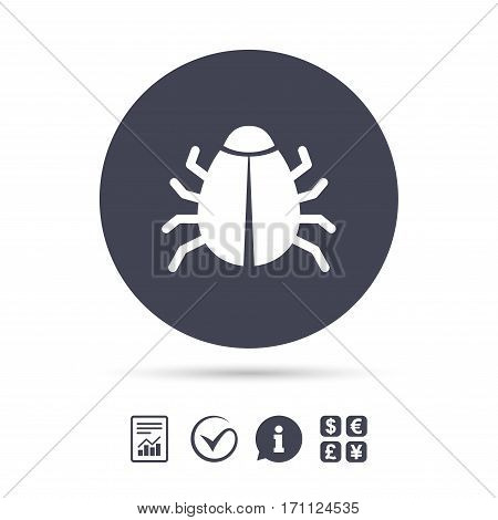 Bug sign icon. Virus symbol. Software bug error. Disinfection. Report document, information and check tick icons. Currency exchange. Vector