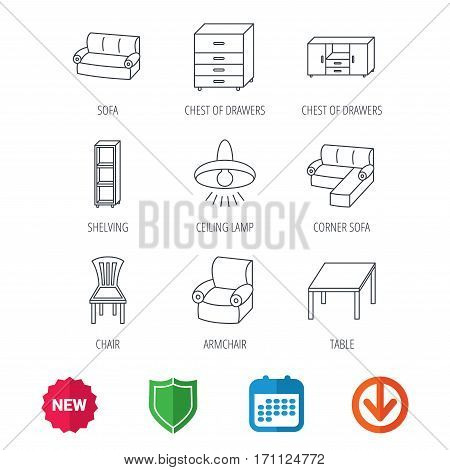 Corner sofa, table and armchair icons. Chair, ceiling lamp and chest of drawers linear signs. Shelving, furniture flat line icons. New tag, shield and calendar web icons. Download arrow. Vector
