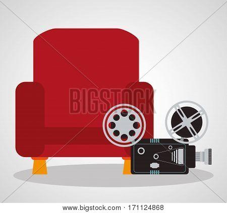 cinema red chair comfortable film camera vector illustration eps 10
