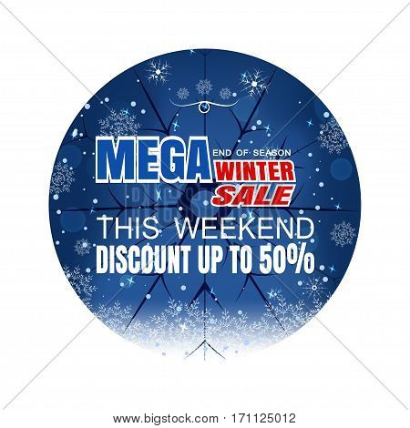 Vector poster of Winter mega sale on the gradient blue background with circle cutout snowflakes and snowfall.