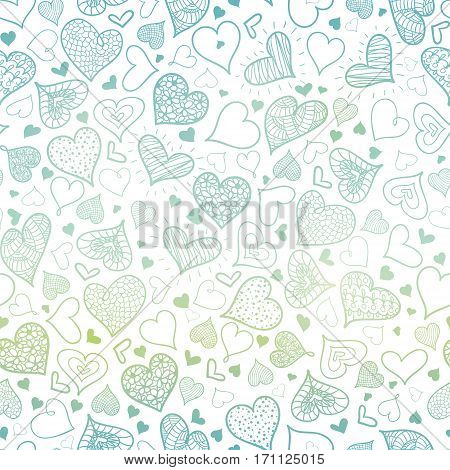 Vector Blue Hand Drawn Hearts Seamless Pattern Design Perfect for Valentine's Day cards, fabric, scrapbooking, wallpaper. Textile design.