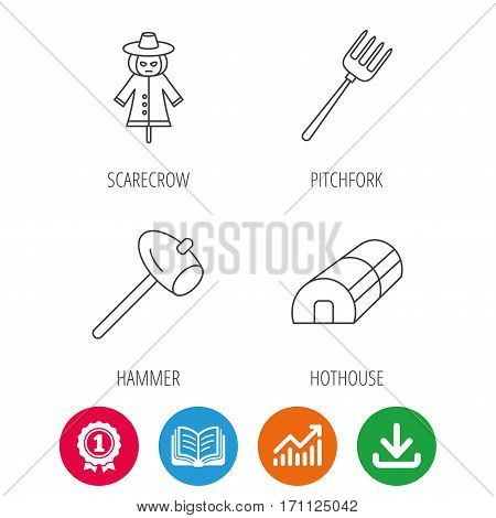 Hammer, hothouse and scarecrow icons. Pitchfork linear sign. Award medal, growth chart and opened book web icons. Download arrow. Vector