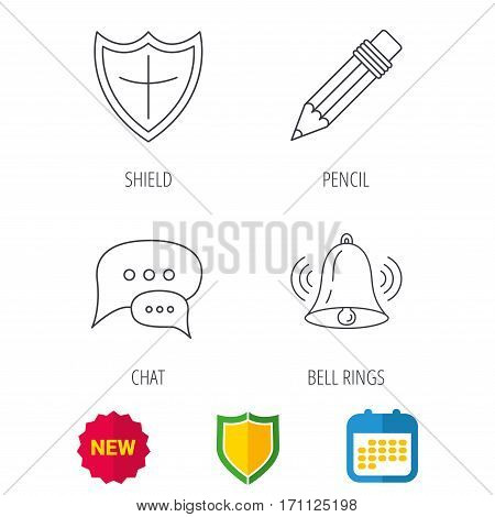 Chat, pencil and protection shield icons. Bell rings linear sign. Shield protection, calendar and new tag web icons. Vector