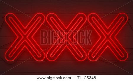 Flickering Blinking Red Neon Sign On Brick Wall Background, Sexy Adult Show Night Club Xxx Sign