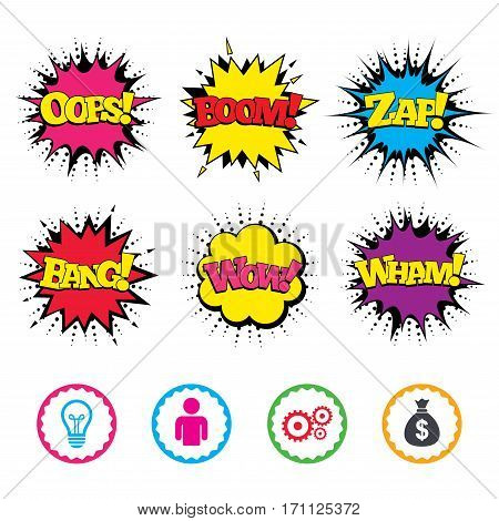 Comic Wow, Oops, Boom and Wham sound effects. Business icons. Human silhouette and lamp bulb idea signs. Dollar money bag and gear symbols. Zap speech bubbles in pop art. Vector