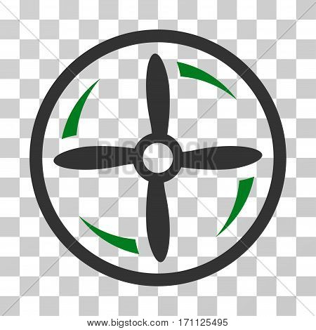 Drone Screw Rotation icon. Vector illustration style is flat iconic bicolor symbol green and gray colors transparent background. Designed for web and software interfaces.