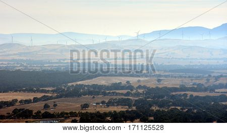Early morning View from One Tree Hill Lookout (Ararat VIC Australia). Broad panorama of the countryside in Western District of Victoria.