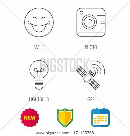Smiling face, photo camera and lightbulb icons. GPS linear sign. Shield protection, calendar and new tag web icons. Vector