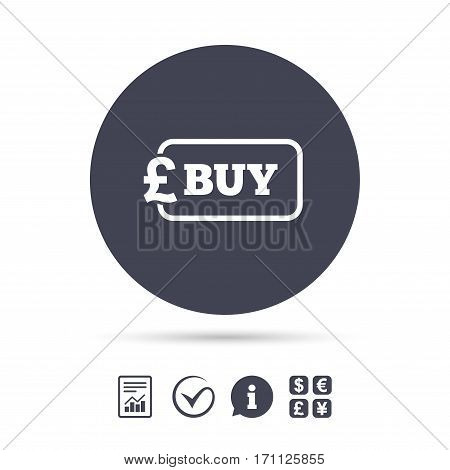 Buy sign icon. Online buying Pound gbp button. Report document, information and check tick icons. Currency exchange. Vector