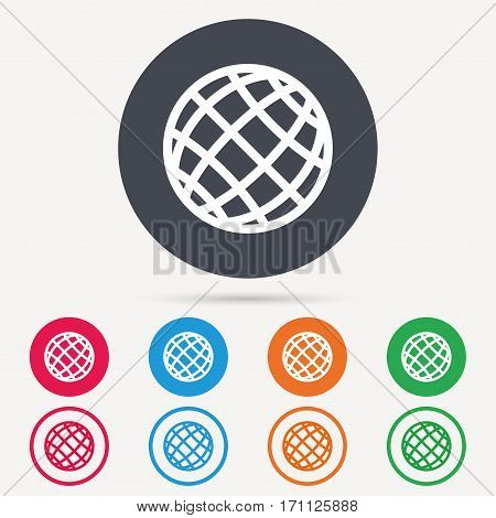 Globe icon. World or internet symbol. Round circle buttons. Colored flat web icons. Vector