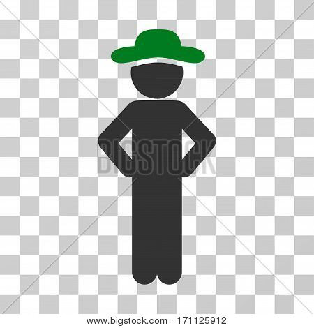 Gentleman Akimbo icon. Vector illustration style is flat iconic bicolor symbol green and gray colors transparent background. Designed for web and software interfaces.