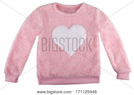 Fuzzy sweater with a heart, isolated on white