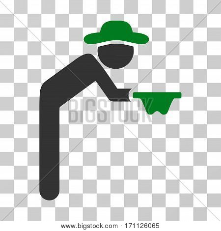 Gentleman Beggar icon. Vector illustration style is flat iconic bicolor symbol green and gray colors transparent background. Designed for web and software interfaces.
