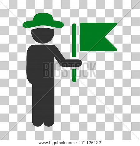 Gentleman Commander icon. Vector illustration style is flat iconic bicolor symbol green and gray colors transparent background. Designed for web and software interfaces.