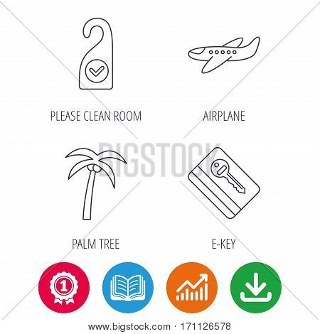 Palm tree, air-plane and e-key icons. Clean room linear sign. Award medal, growth chart and opened book web icons. Download arrow. Vector