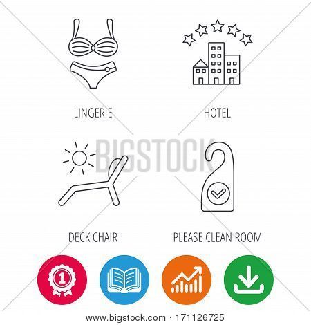 Hotel, lingerie and beach deck chair icons. Clean room linear sign. Award medal, growth chart and opened book web icons. Download arrow. Vector