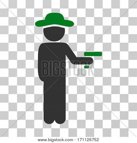 Gentleman Robber icon. Vector illustration style is flat iconic bicolor symbol green and gray colors transparent background. Designed for web and software interfaces.