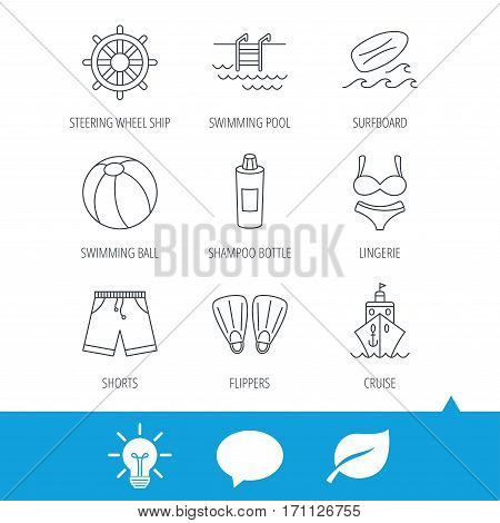 Surfboard, swimming pool and trunks icons. Beach ball, lingerie and shorts linear signs. Flippers, cruise ship and shampoo icons. Light bulb, speech bubble and leaf web icons. Vector