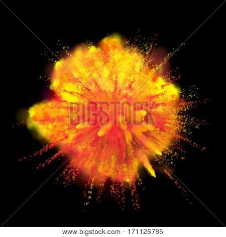 Color powder explosion on black background. Yellow with red-orange dust paint coloured explode for Holi Festival.