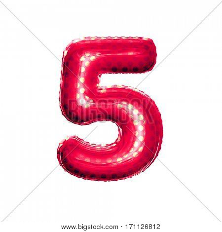 Metallic Red with Gold balloon number 5 Five on white background