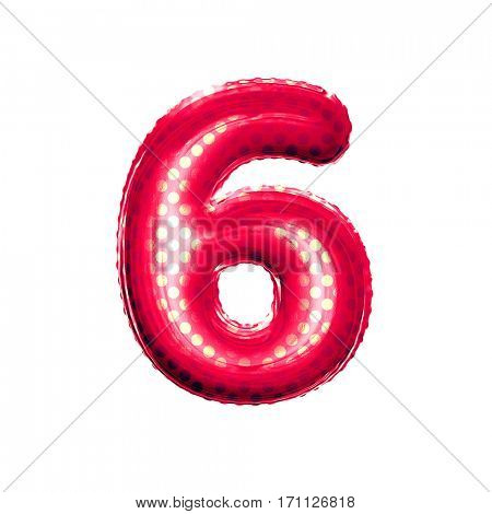 Metallic Red with Gold balloon number 6 Six on white background