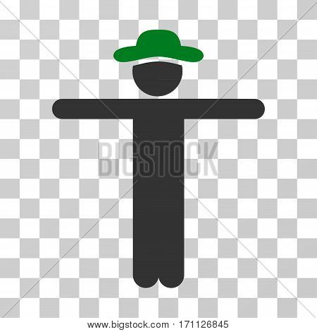 Gentleman Scarescrow icon. Vector illustration style is flat iconic bicolor symbol green and gray colors transparent background. Designed for web and software interfaces.