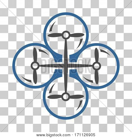 Drone Screws icon. Vector illustration style is flat iconic bicolor symbol cobalt and gray colors transparent background. Designed for web and software interfaces.