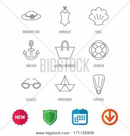 Paper boat, shell and swimsuit icons. Lifebuoy, glases and women hat linear signs. Anchor, ladies handbag icons. New tag, shield and calendar web icons. Download arrow. Vector
