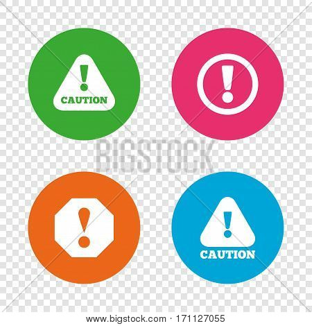 Attention caution icons. Hazard warning symbols. Exclamation sign. Round buttons on transparent background. Vector