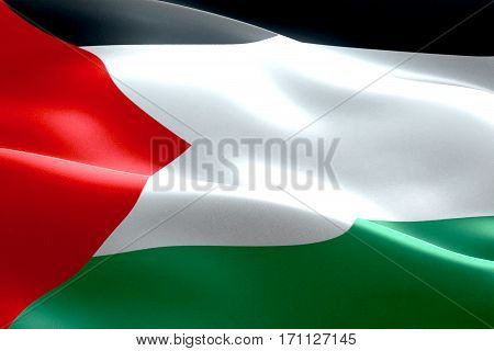 Flag Of Palestine Gaza Strip Waving Texture Fabric Background, Crisis Of Israel And Islam Palestine,