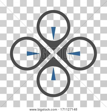 Fly Drone icon. Vector illustration style is flat iconic bicolor symbol cobalt and gray colors transparent background. Designed for web and software interfaces.
