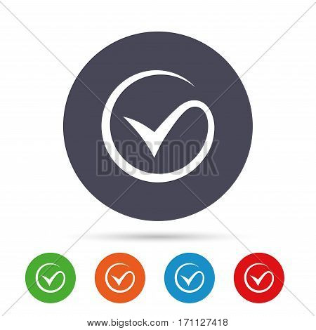 Tick sign icon. Check mark symbol. Round colourful buttons with flat icons. Vector