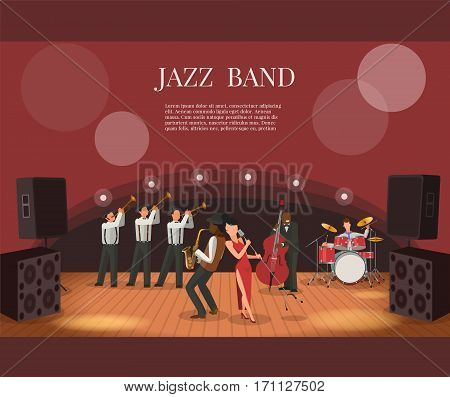 Jazz music band flat vector illustration with musicians on stage  coming to concert
