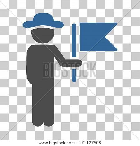 Gentleman Commander icon. Vector illustration style is flat iconic bicolor symbol cobalt and gray colors transparent background. Designed for web and software interfaces.