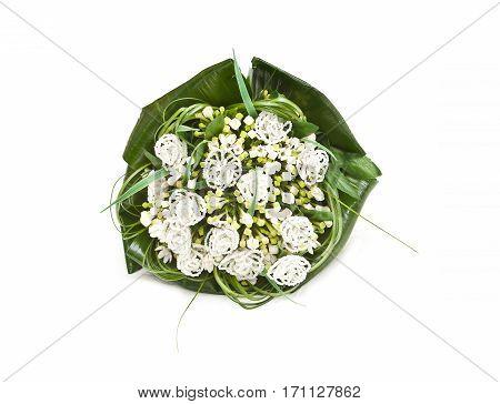 Wedding bouquet isolated on white background .