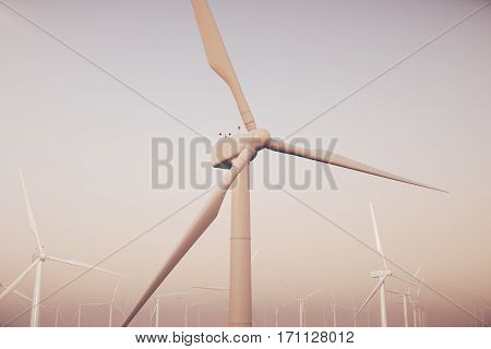 White wind turbines generating electricity in sea, ocean. Clean energy, wind energy, ecological concept, 3d rendering